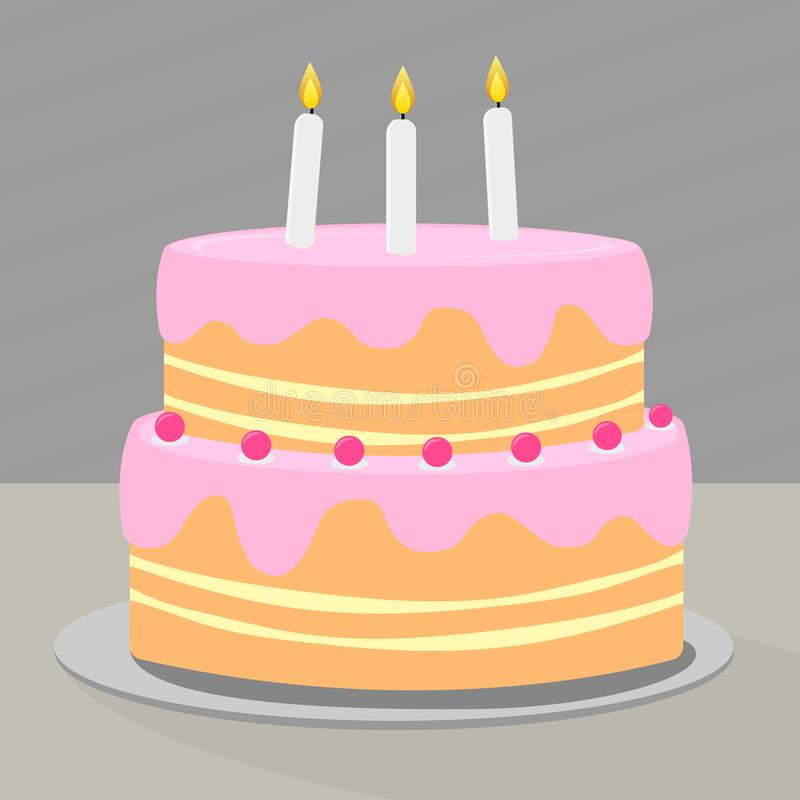 Colorful Layered Birthday Cake With Candles Stock Illustration