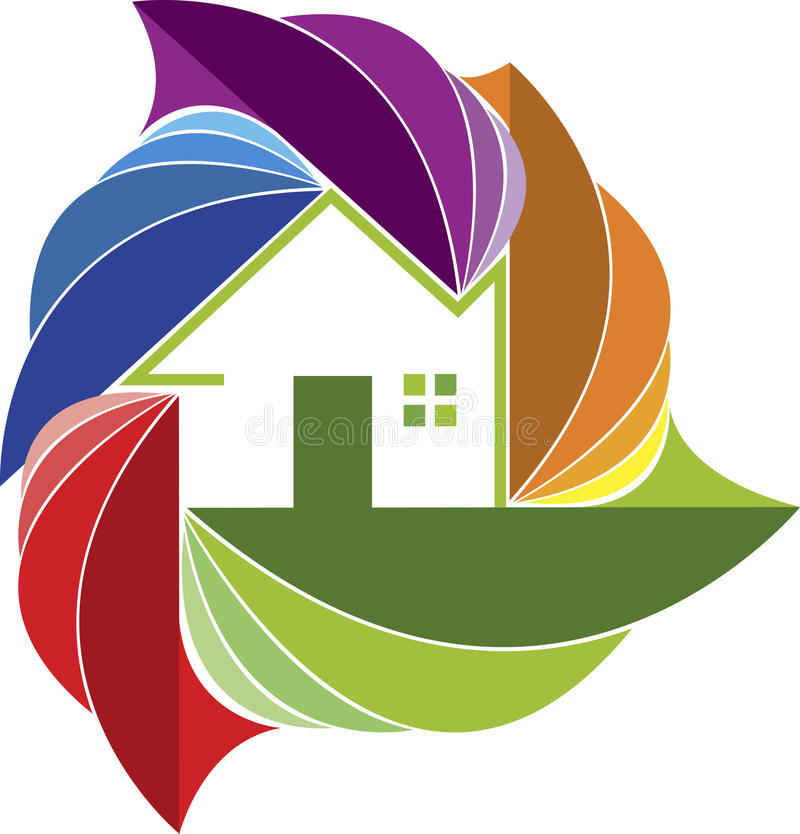 Colorful leaf home logo stock illustration