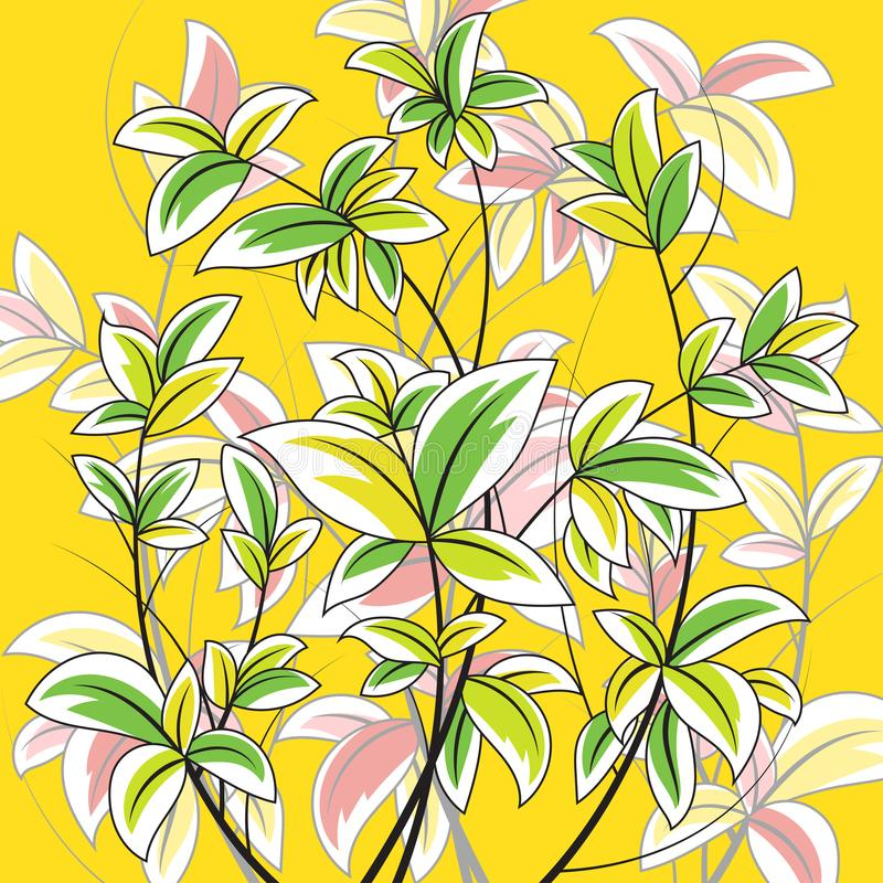 Colorful leaf nature scene on a yellow vector illustration