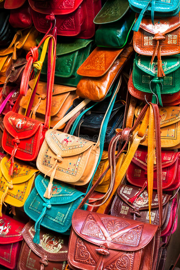 Colorful leather handbags collection on Tunis market. Africa stock images