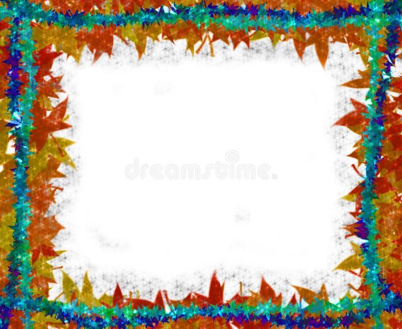 Colorful Leaves [maple] Border frame on white royalty free illustration