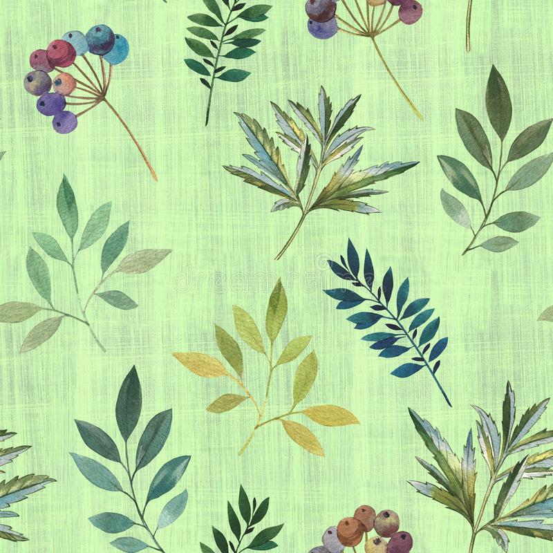 Seamless pattern of twigs and leaves. Painted in watercolor. royalty free stock photos