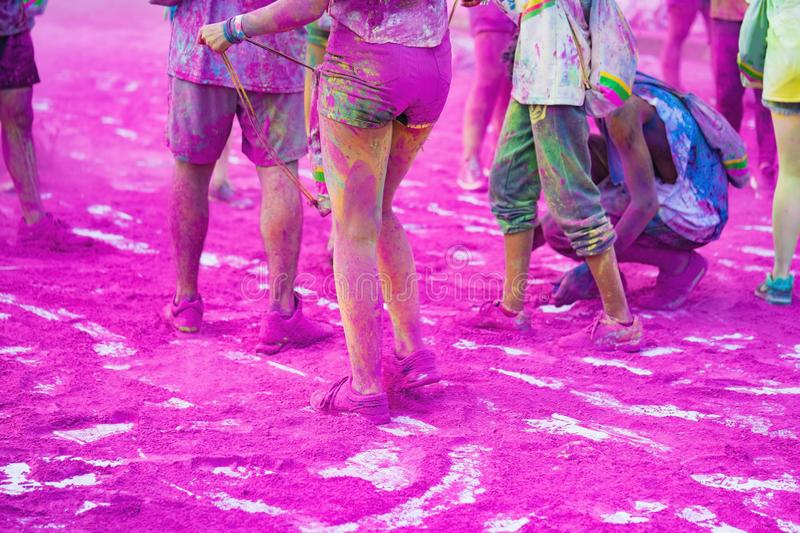Colorful legs at public color run event in Hanoi capital city.  royalty free stock images