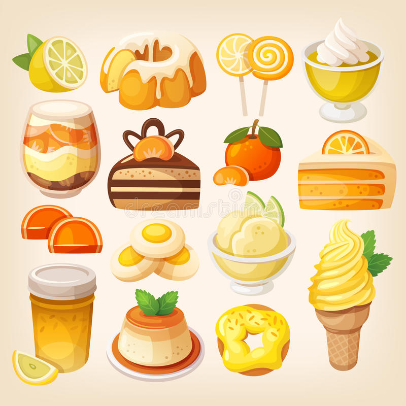 Colorful lemon and orange desserts vector illustration