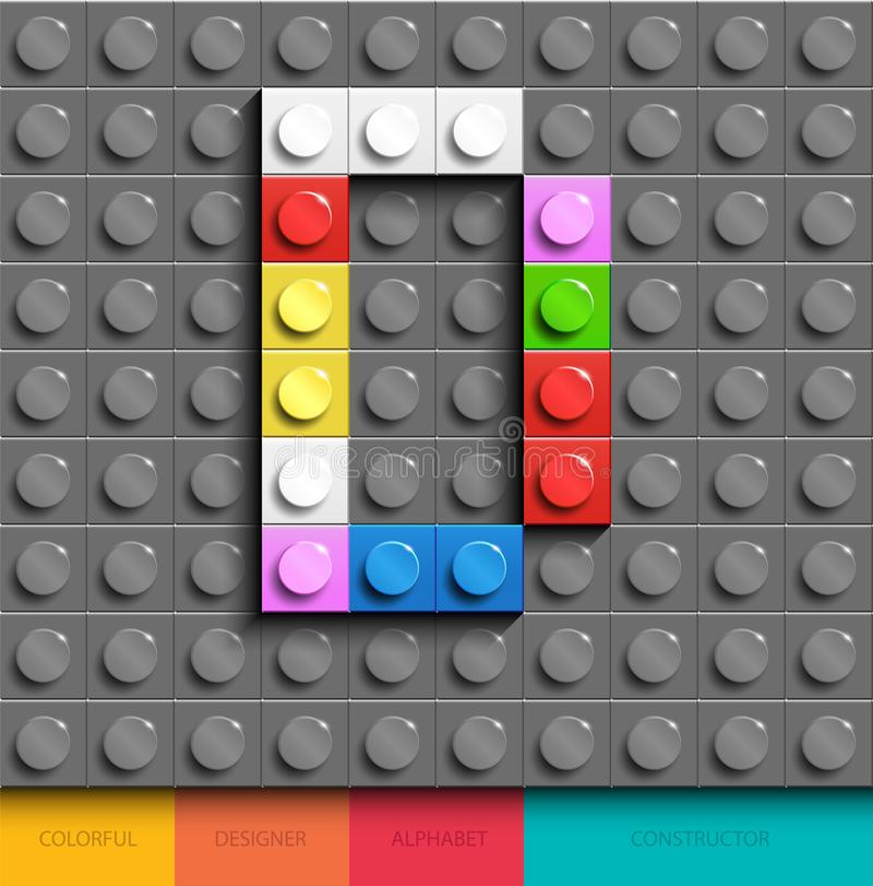 Colorful letter D from building lego bricks on gray lego background. Lego letter M stock illustration