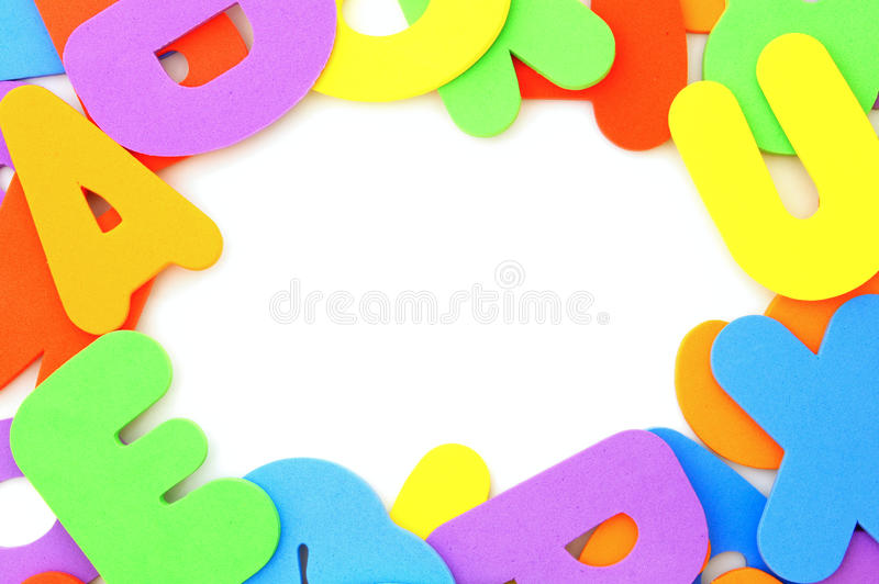 Colorful letter frame stock photos