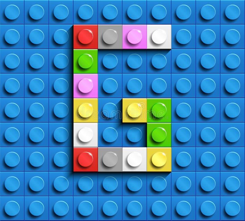 Colorful letter G from building lego bricks on blue lego background. Lego letter M vector illustration
