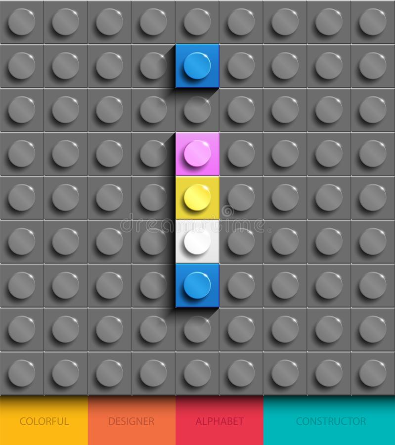 Colorful letter I from building lego bricks on gray lego background. Lego letter M stock illustration