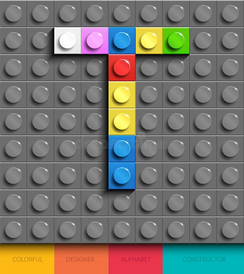 Colorful letter T from building lego bricks on gray lego background. Lego letter M. 3D design stock illustration