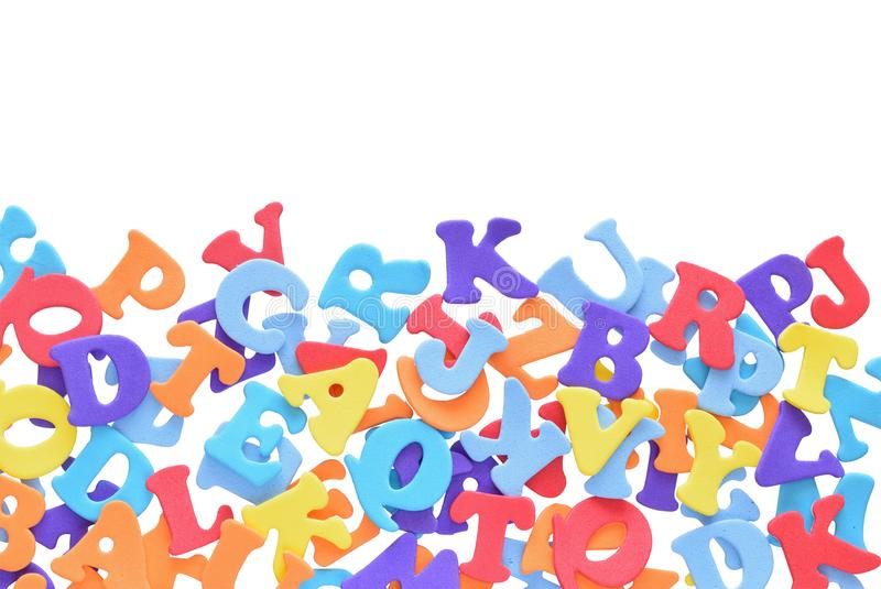 Mixture on colorful letters in border royalty free stock images