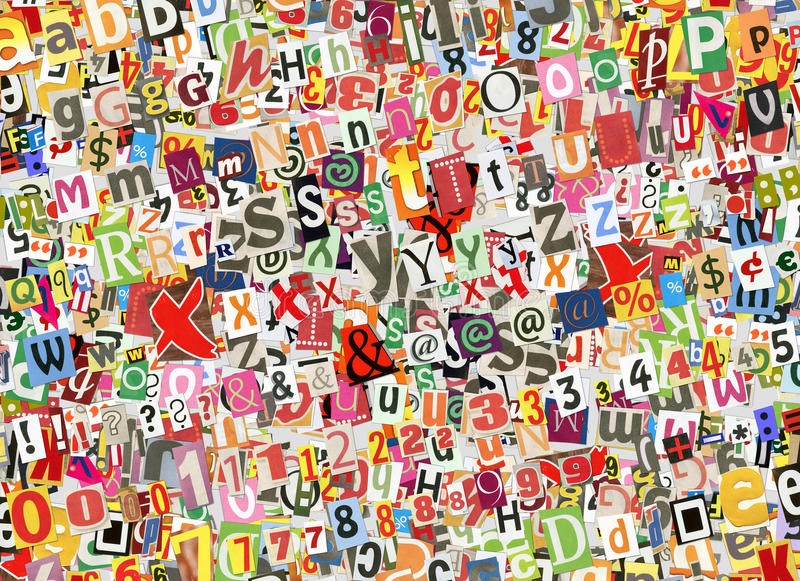 Colorful letters collage stock image