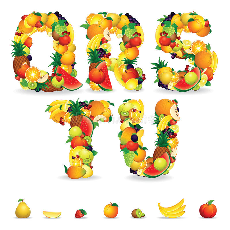 5 letter fruit colorful letters from fruit and berries clip stock 20225