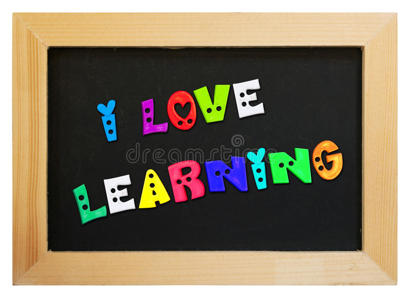 Colorful letters with i love learning royalty free stock photos