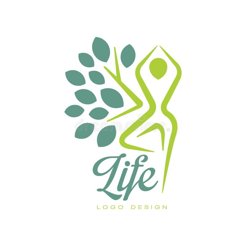 Colorful life logo design with abstract human figure and leaves. Flat vector emblem for yoga class, spa salon or stock illustration