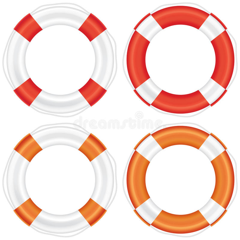 Colorful lifebuoy set with stripes and rope. royalty free illustration