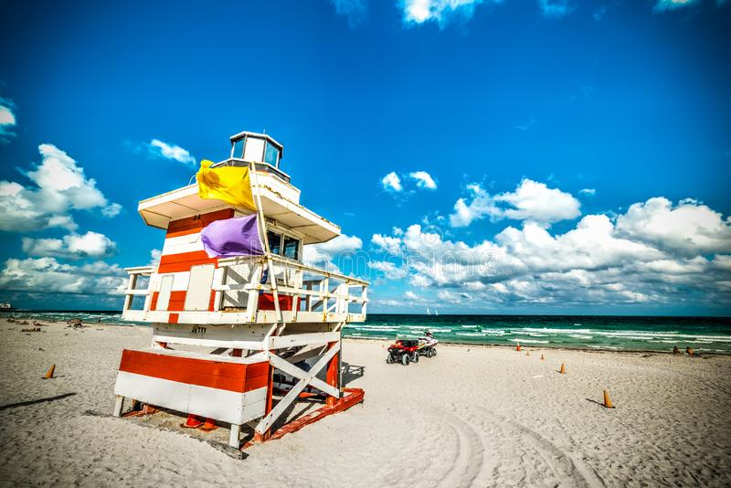 Colorful lifeguard hut in South Beach stock image