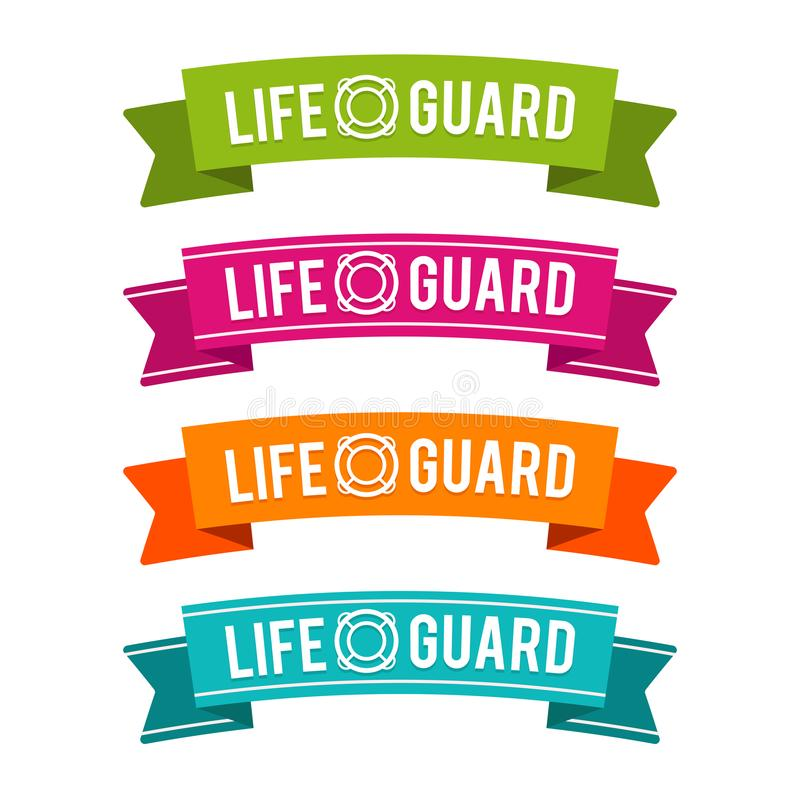 Colorful Lifeguard ribbons. Eps10 Vector. Four different colours royalty free illustration
