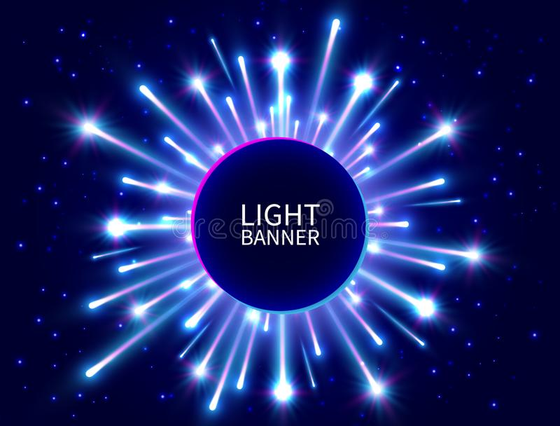 Colorful light banner with glowing rays. Shining neon circle banner. Bright firework. Blue star burst. New Year background. Vector vector illustration