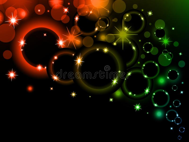 Colorful light bubbles Background. Neon rainbow bokeh effect. Dark background with Glowing sparkling circles and rings stock illustration