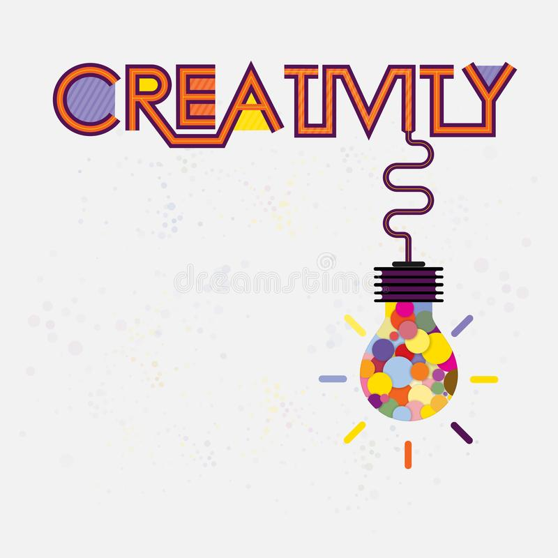 Colorful light bulb icon and Creativity concept.Modern typography design.Creative design for wall graphics, typographic. Poster, advertisement, web design and stock illustration