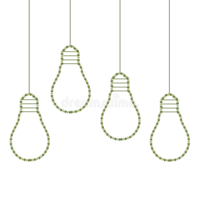 Colorful Light Bulbs Made Of Flowers, Think Green Concept royalty free illustration