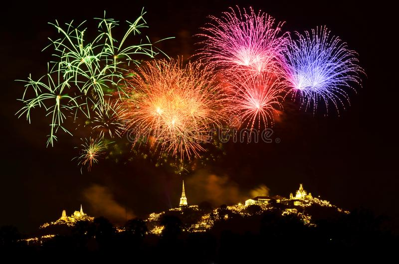 Colorful light and fireworks show royalty free stock image