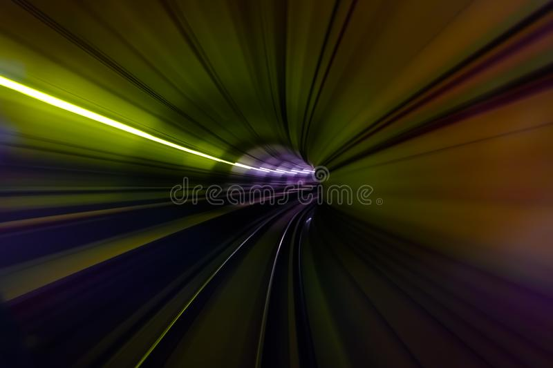 Colorful light in Tunnel of the subway blur motion view royalty free stock photography
