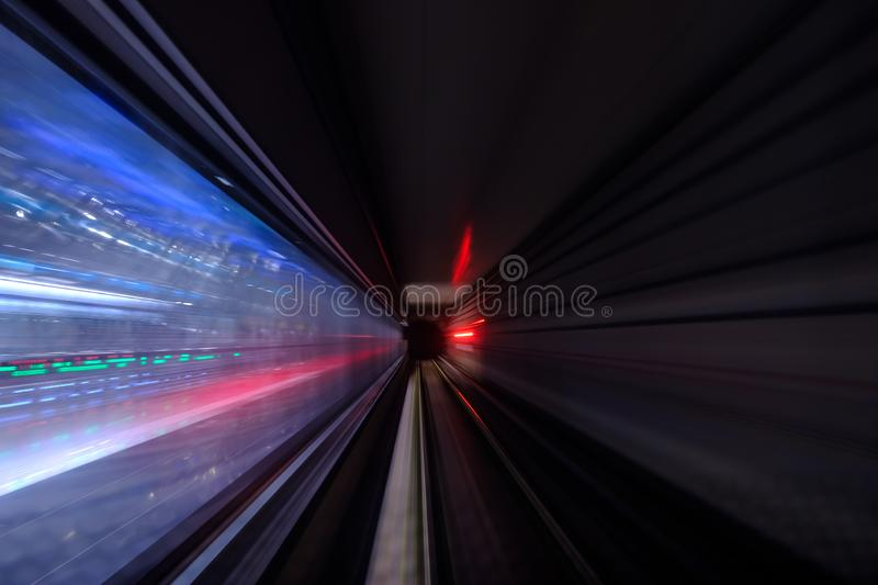 Colorful light in Tunnel of the subway blur motion view royalty free stock photos