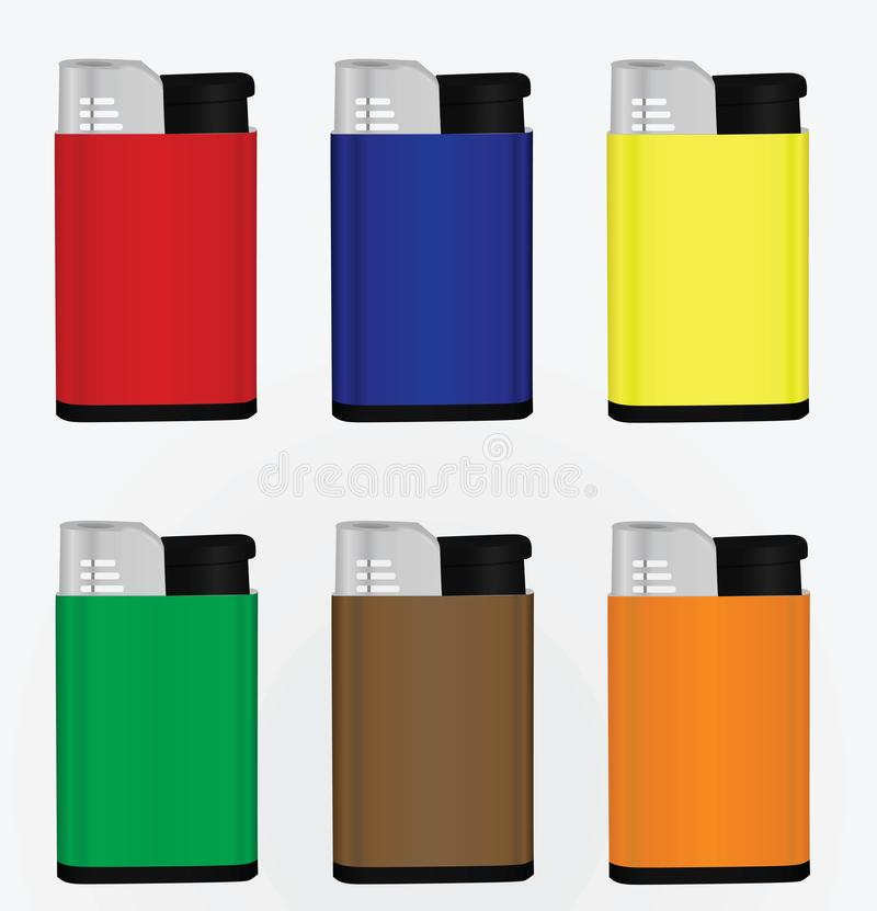 Colorful lighter set vector illustration