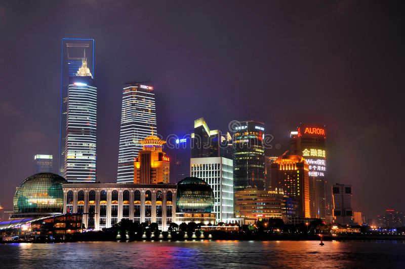 Colorful And Lighting Night Buildings Of Shanghai Editorial Photography