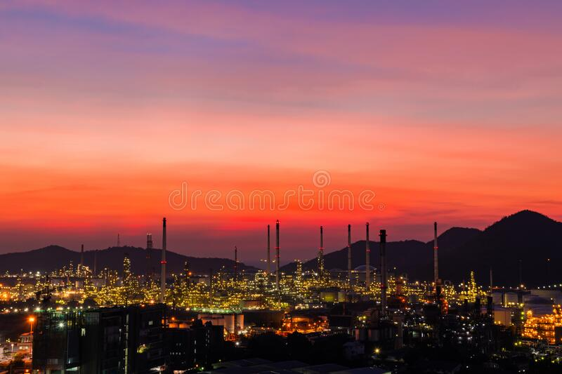 The colorful lights in oil refinery industry power station at night time with dark sky. The colorful lights in oil refinery industry power station at night time stock photos