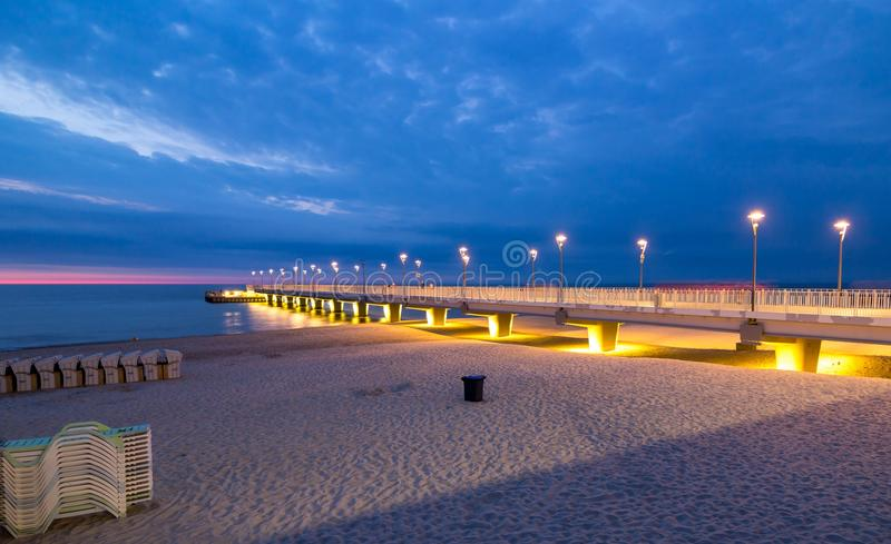 Colorful lights on the pier in the evening, Kolobrzeg, Poland. Beautiful colorful lights on the pier in the evening, Kolobrzeg, Poland stock image
