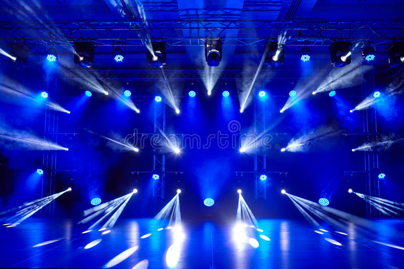 Colorful lights on the scene.  stock images