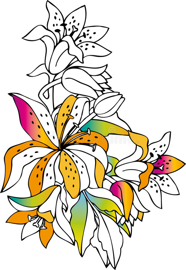 Download Colorful lilies stock vector. Illustration of abstract - 2700474