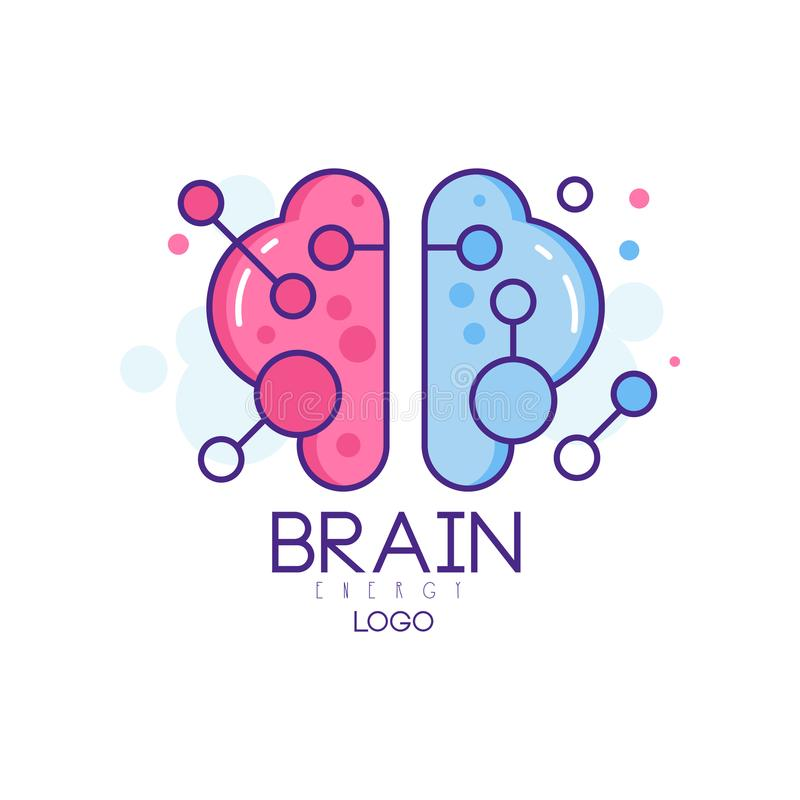 Colorful line art with left and right hemispheres of human brain. Symbol of creative mind and thinking. Vector logo for. Colorful line art design with left and stock illustration