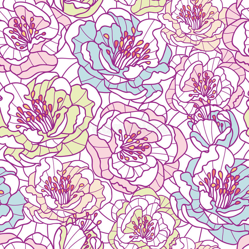 Line Art Flower Background : Colorful line art flowers seamless pattern stock photos