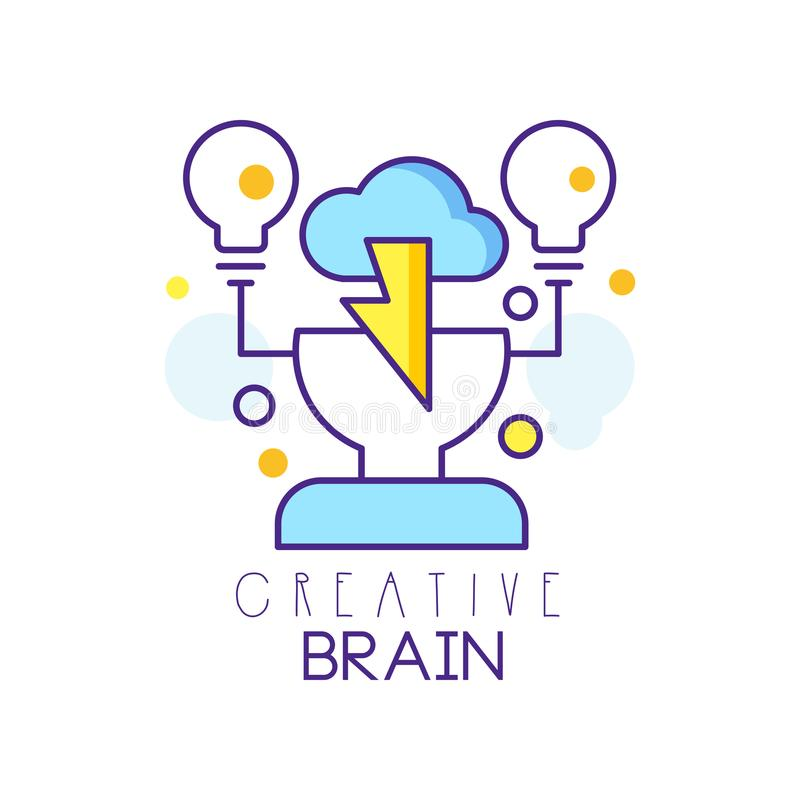 Colorful linear logo design with human head, cloud and light bulbs. Brainstorming process. Creative idea and thinking vector illustration