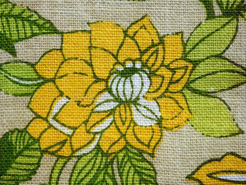 Colorful linen fabric with painted flower royalty free stock images