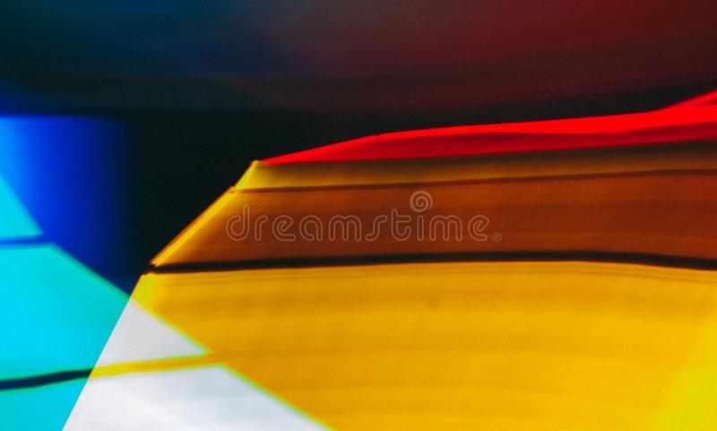 Colorful lines of lights in slow shutter speed, abstract photo. Colorful lines of lights in slow shutter speed, abstract blue, red and yellow movement photo royalty free stock photos