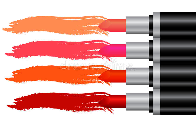 Colorful lipstick advertisement. Colorful lipstick line for advertisement vector illustration