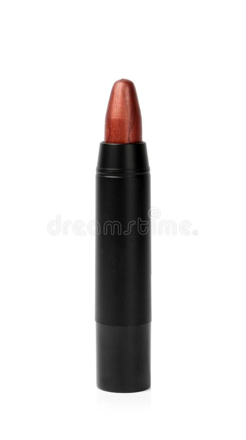 Colorful lipstick in black tube isolated stock photo