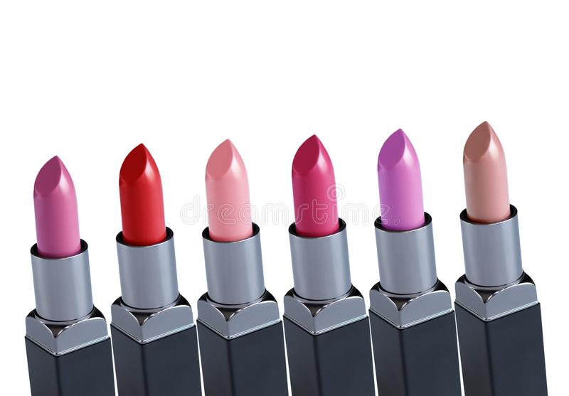Colorful Lipsticks over white background royalty free stock images