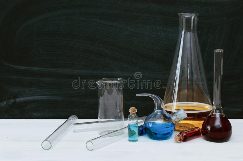 Colorful liquid in chemical flasks and vials. Chemistry. Biology. royalty free stock photos