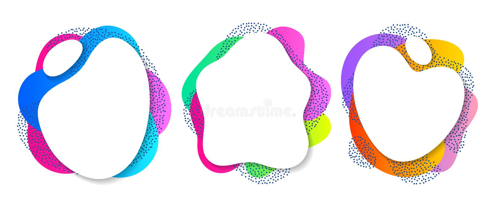 Colorful liquid shapes set. Abstract fluid blobs. Colorful liquid shapes set. Abstract fluid blobs background stock illustration