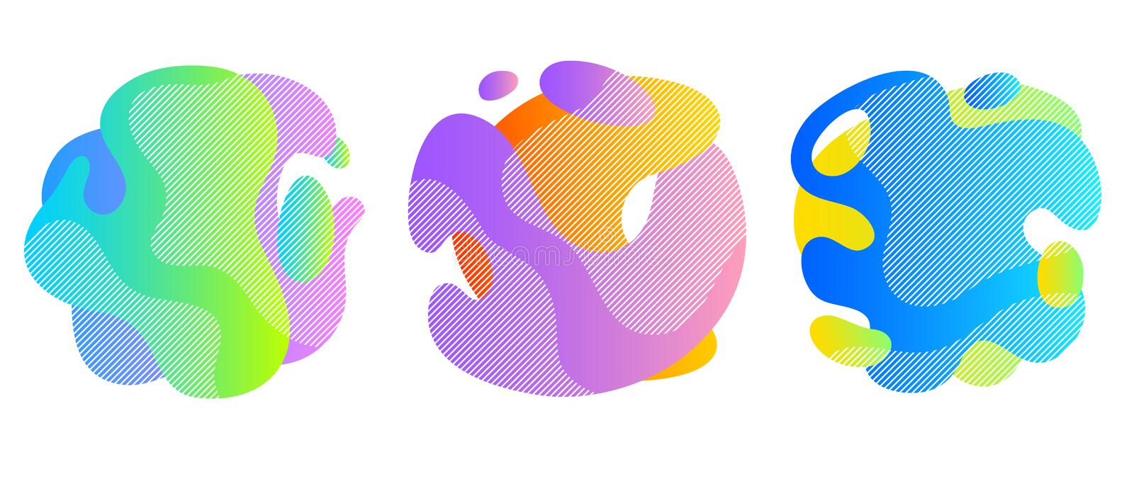Colorful liquid shapes set. Abstract fluid blobs. Colorful liquid shapes set. Abstract fluid blobs background royalty free illustration