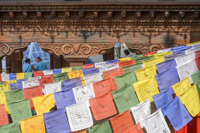 Colorful little flags at Nepal Pavilion , EXPO 2015 Milan royalty free stock images