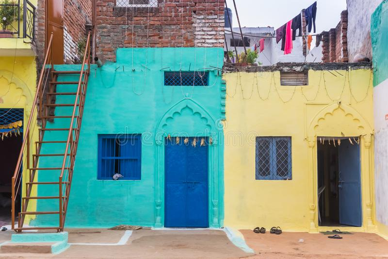 Colorful little houses in the center of Orchha. India royalty free stock photos