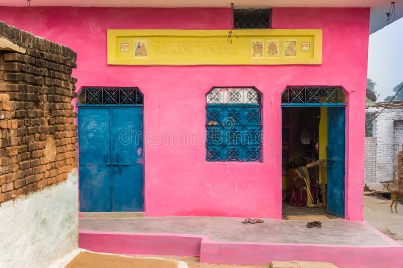 Colorful little houses in the center of Orchha. India stock images