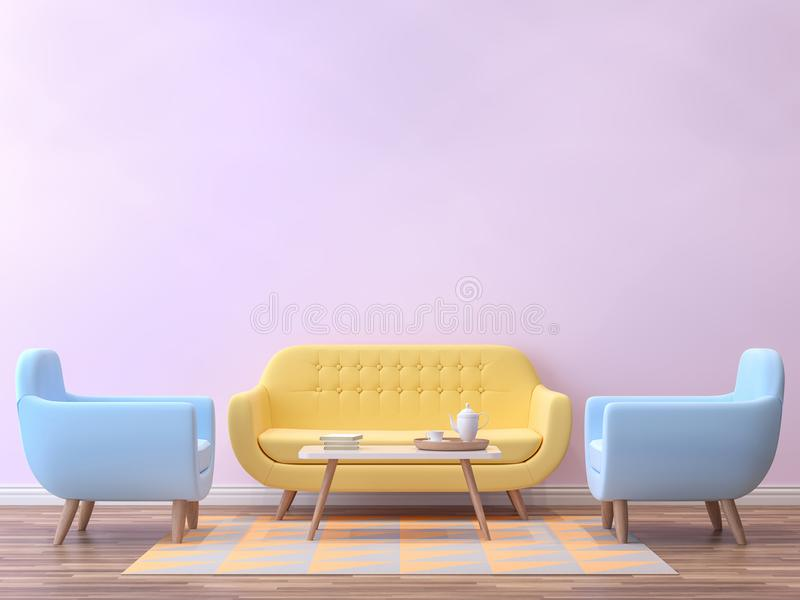 Colorful Living Room With Pastel Color 3d Rendering Image.There Are  Minimalist Style Image ,pink Empty Wall,wood Floor Furnished With Yellow And  Blue ...