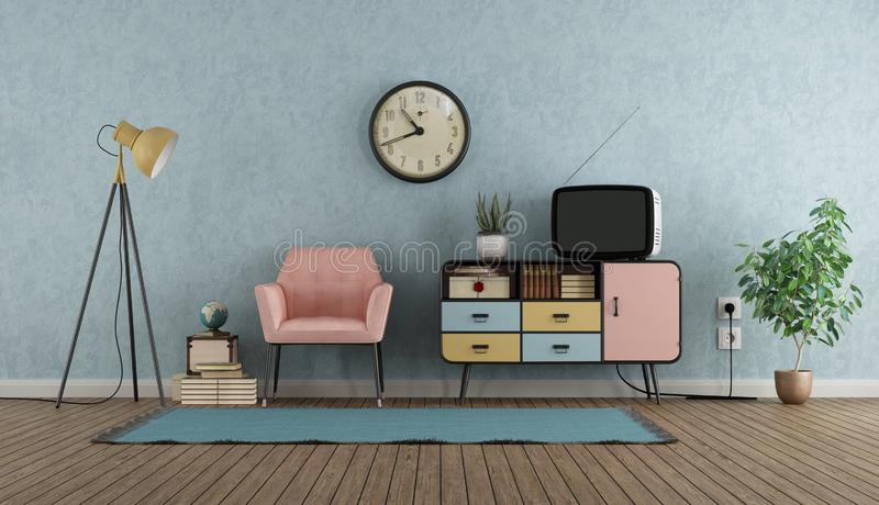 Colorful living room in vintage style. With sideboard,armchair and tv - 3d rendering vector illustration